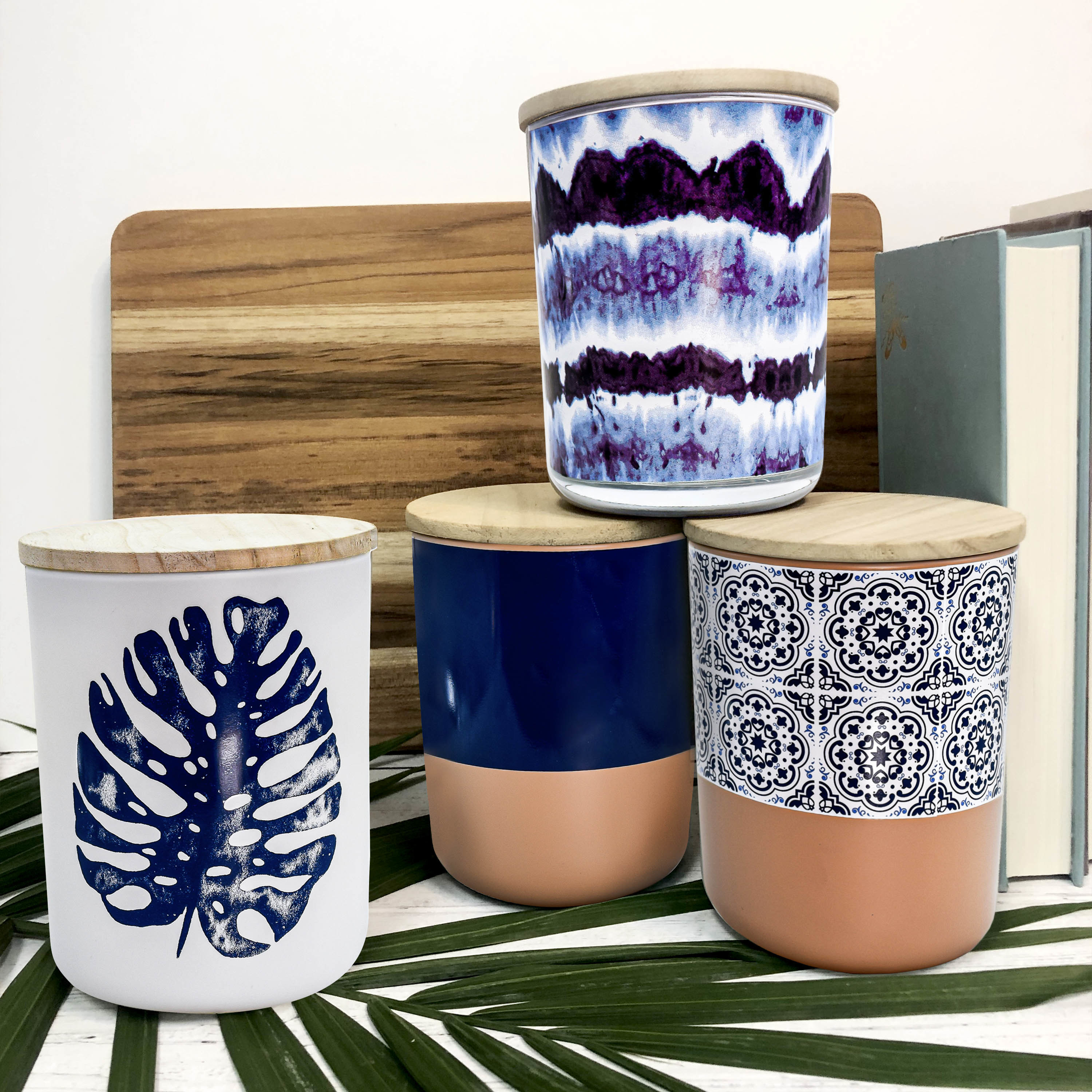 Candles with pink and blue patterns