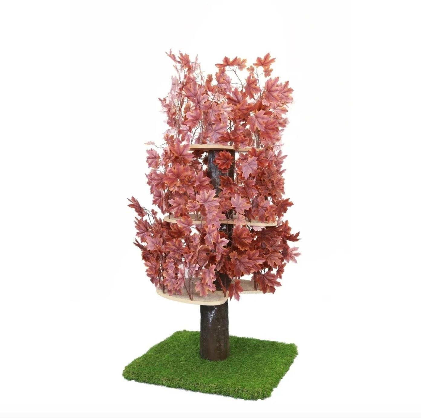 The cat condo tree in plum