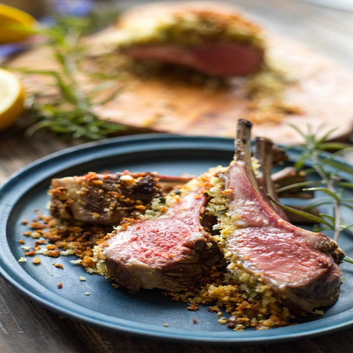 A plate of herb dijon crusted lamb chops.