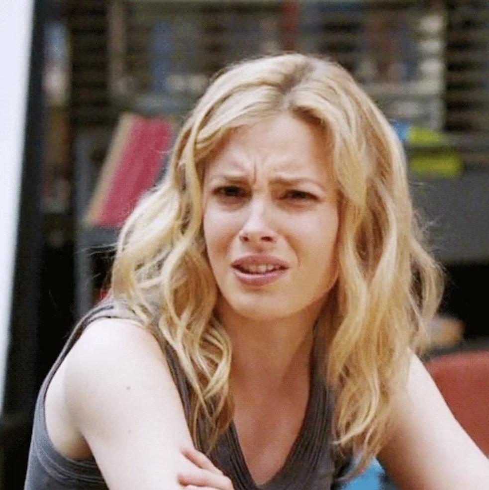Annoyed woman scoffing