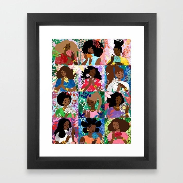 Colorful grid artwork with 12 women holding flowers
