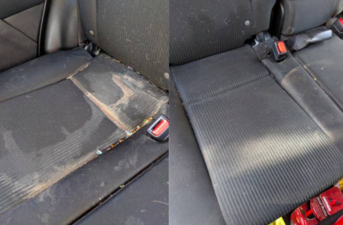 A customer review before and after picture of their car seat