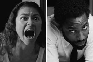A woman is screaming on the left and man is leaning on a countertop on the right.