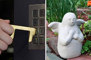 to the left: a zelda push tool, to the right: a zelda-inspired statue