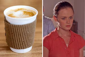 On the left, a latte in a paper cup, and on the right, Rory Gilmore