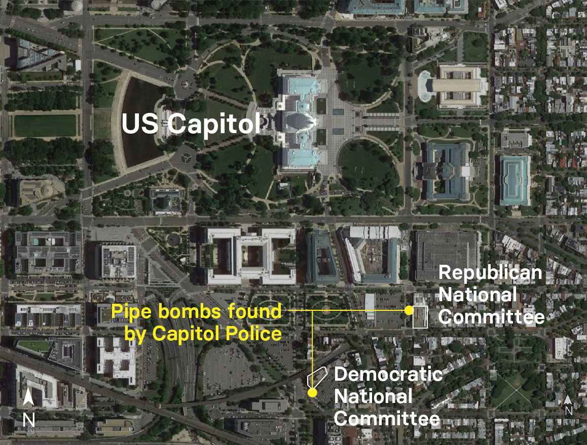 A map of the pipe bomb locations just blocks apart and near the Capitol