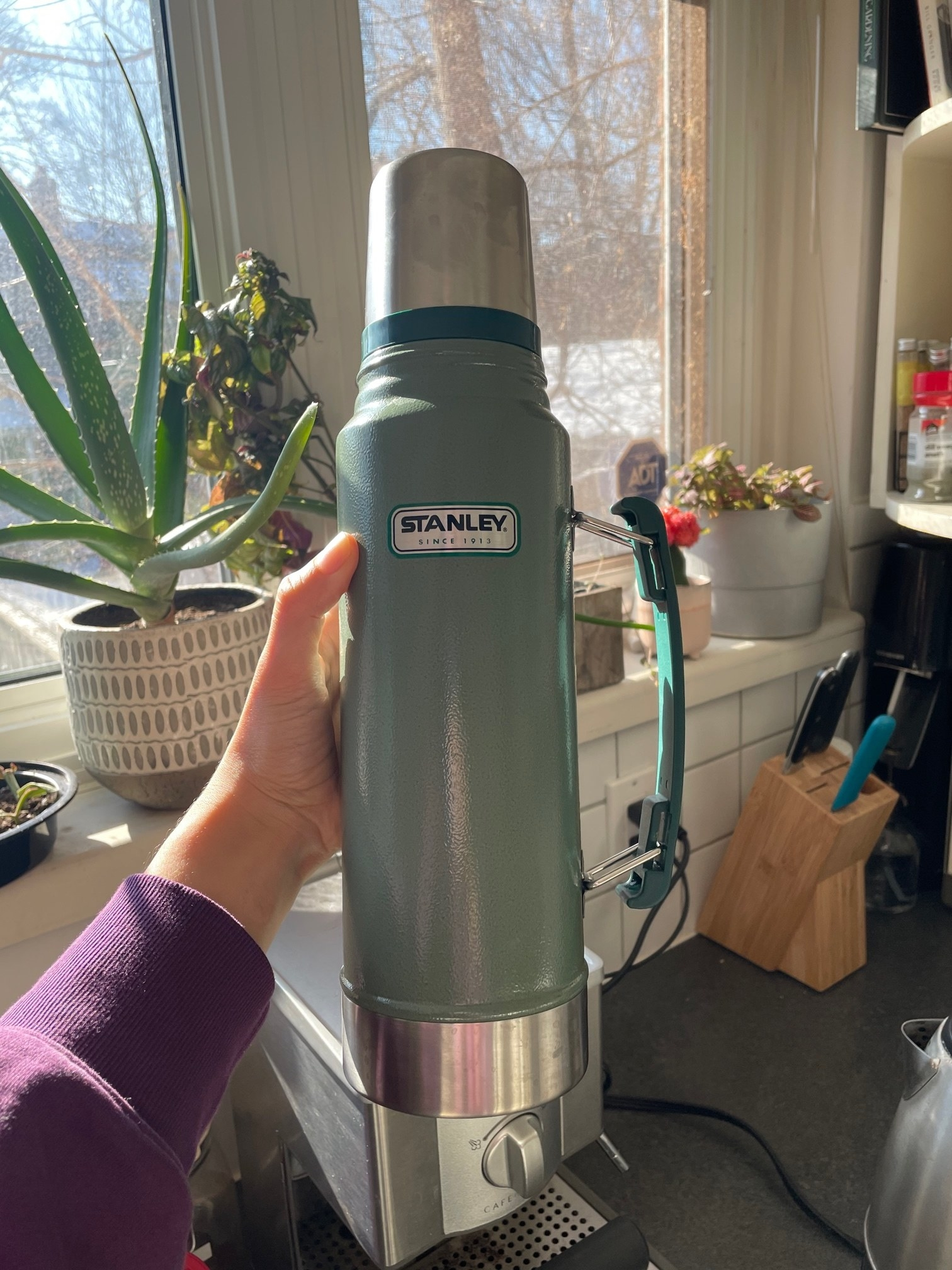 A person holding the large Stanely thermos