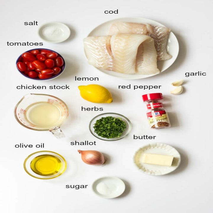 Ingredients for cod in tomato herb butter.