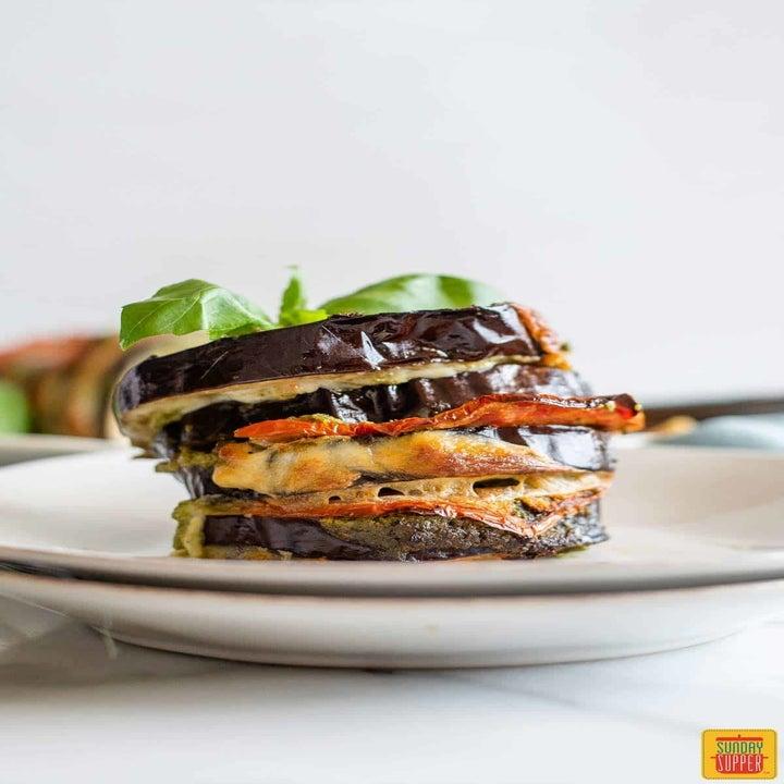 A roasted stuffed eggplant stack.