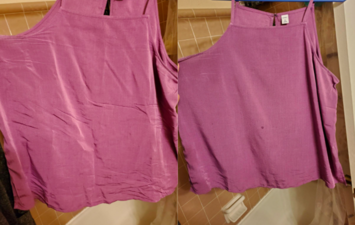 A customer review before and after picture showing the results on their shirt