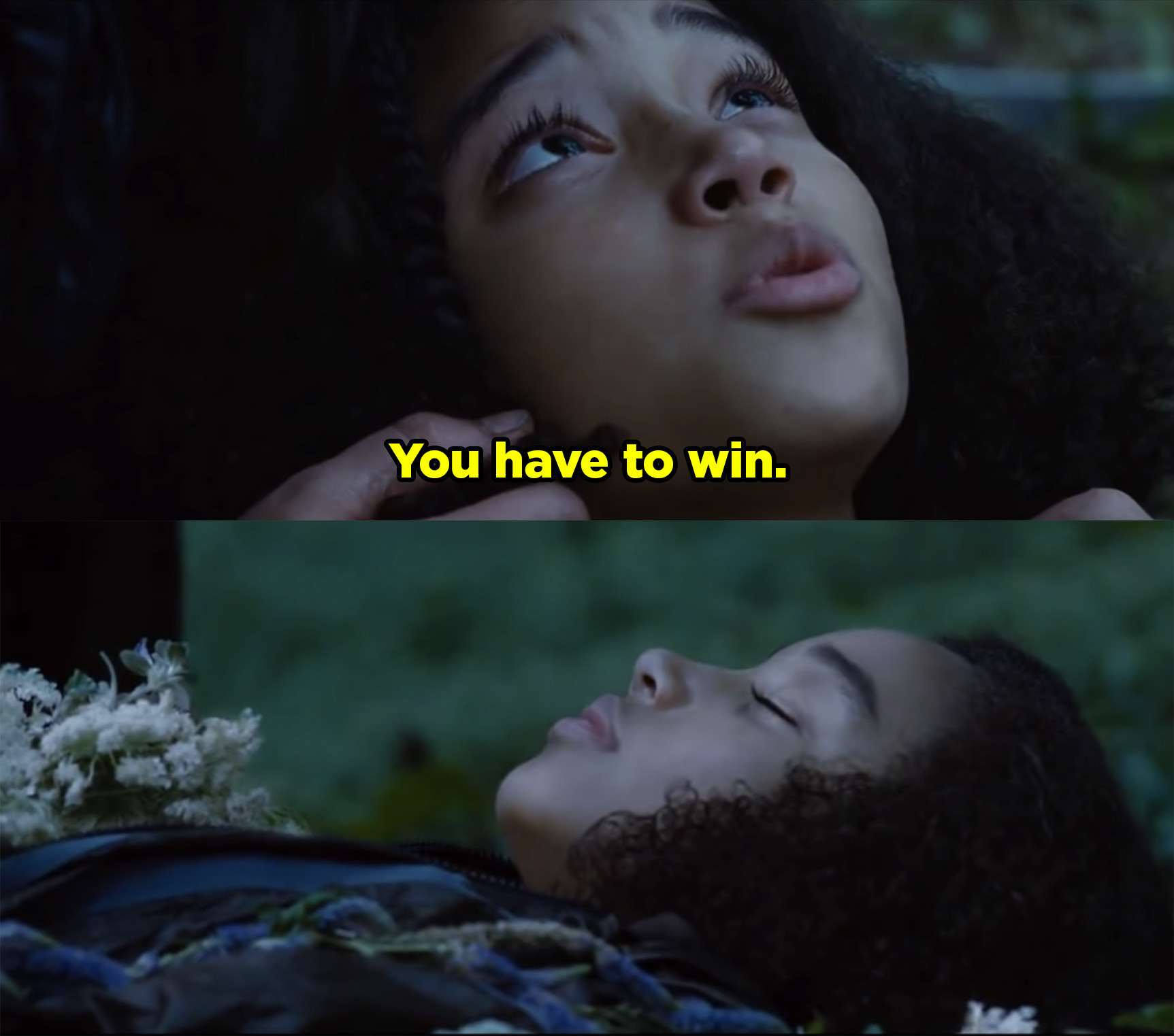 Rue telling Katniss she has to win The Hunger Games before dying.