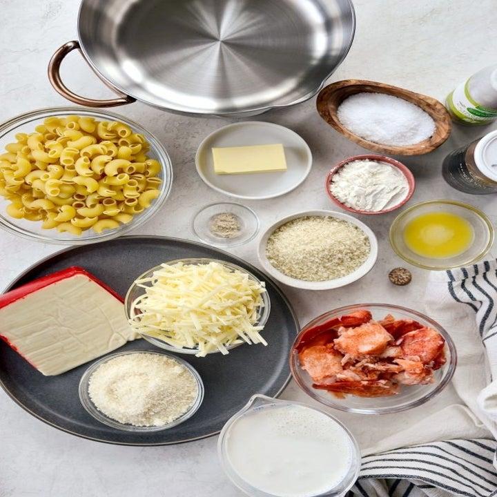 Ingredients for lobster mac 'n' cheese.