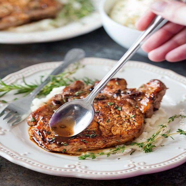 A maple balsamic pork chop.