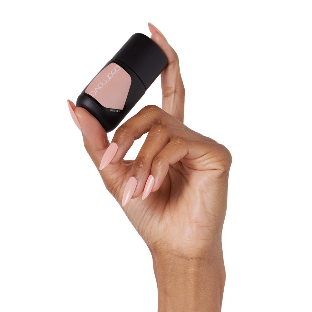 Model holding nail polish in hand