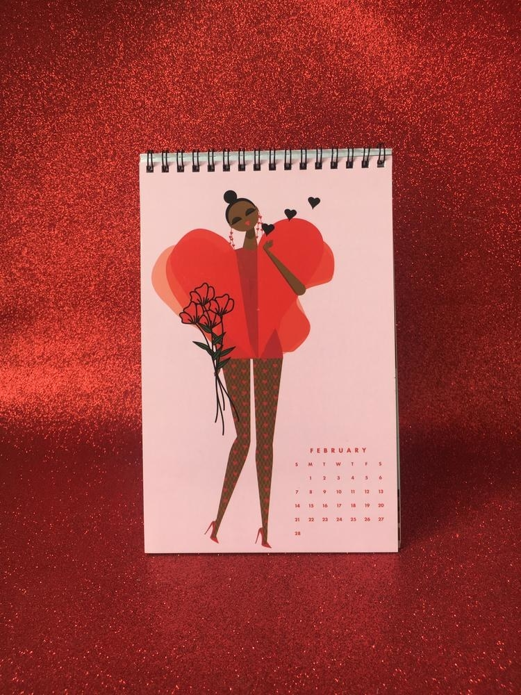 Calendar on red glitter background