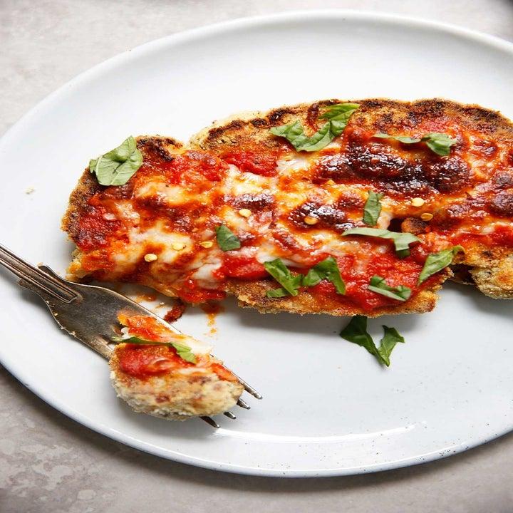 A cheesy cauliflower Parmesan steak.