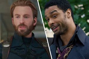 Captain America is suited up on the left with Simon Basett on the right