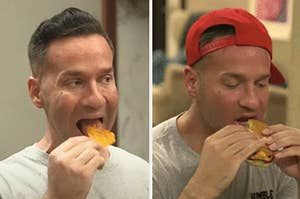 mike the situation eating a chip on the left and a burger on the right