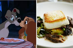 Lady and the Tramp kiss as they eat a spaghetti noodles, and on the right, a filet of fish on a bed of greens