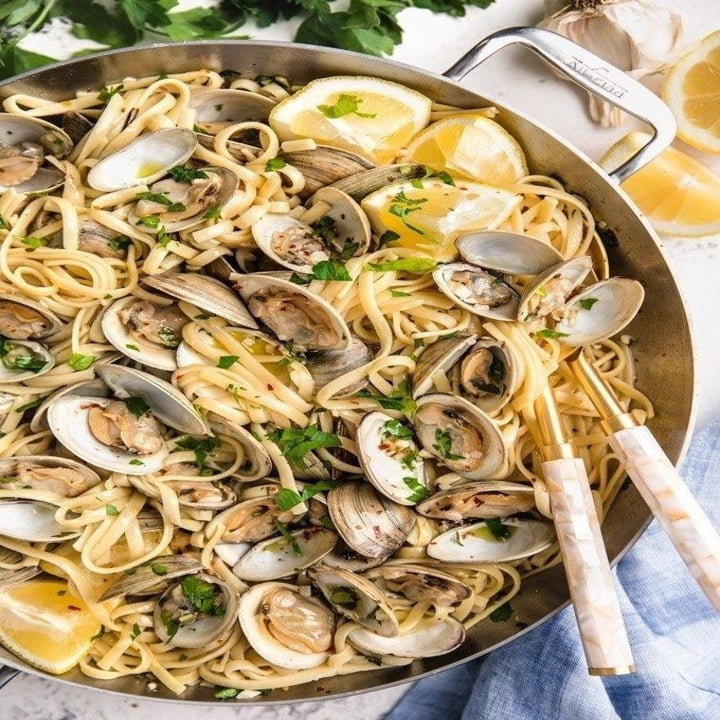 A big pot of linguine with clams.