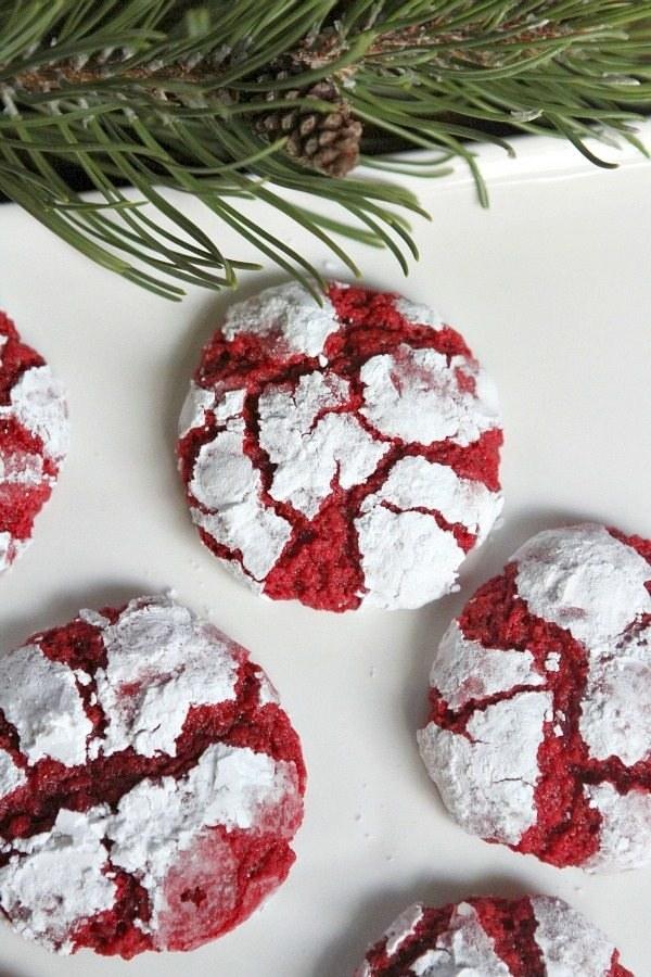 Red velvet cookies with a gooey interior.