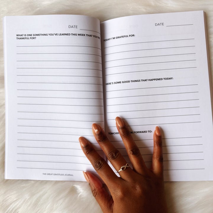 A gratitude journal opened up