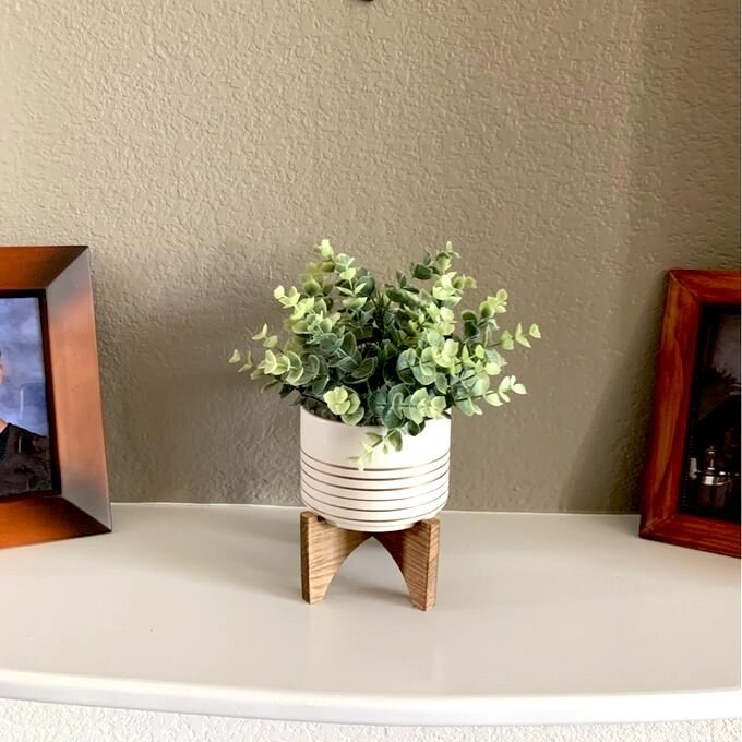 white and gold planter with a fake eucalyptus plant in it