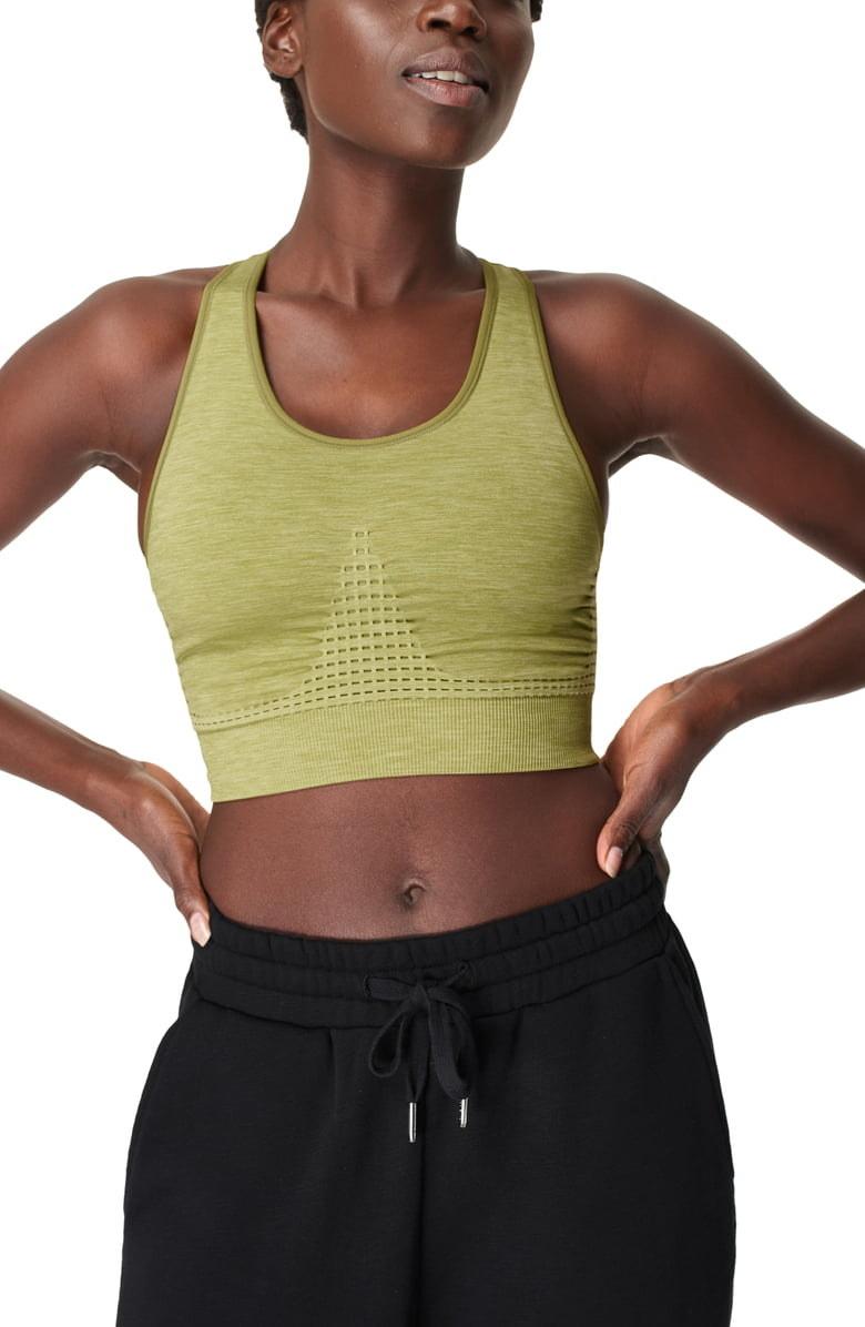 A model sports the bra in Fern Green Marl