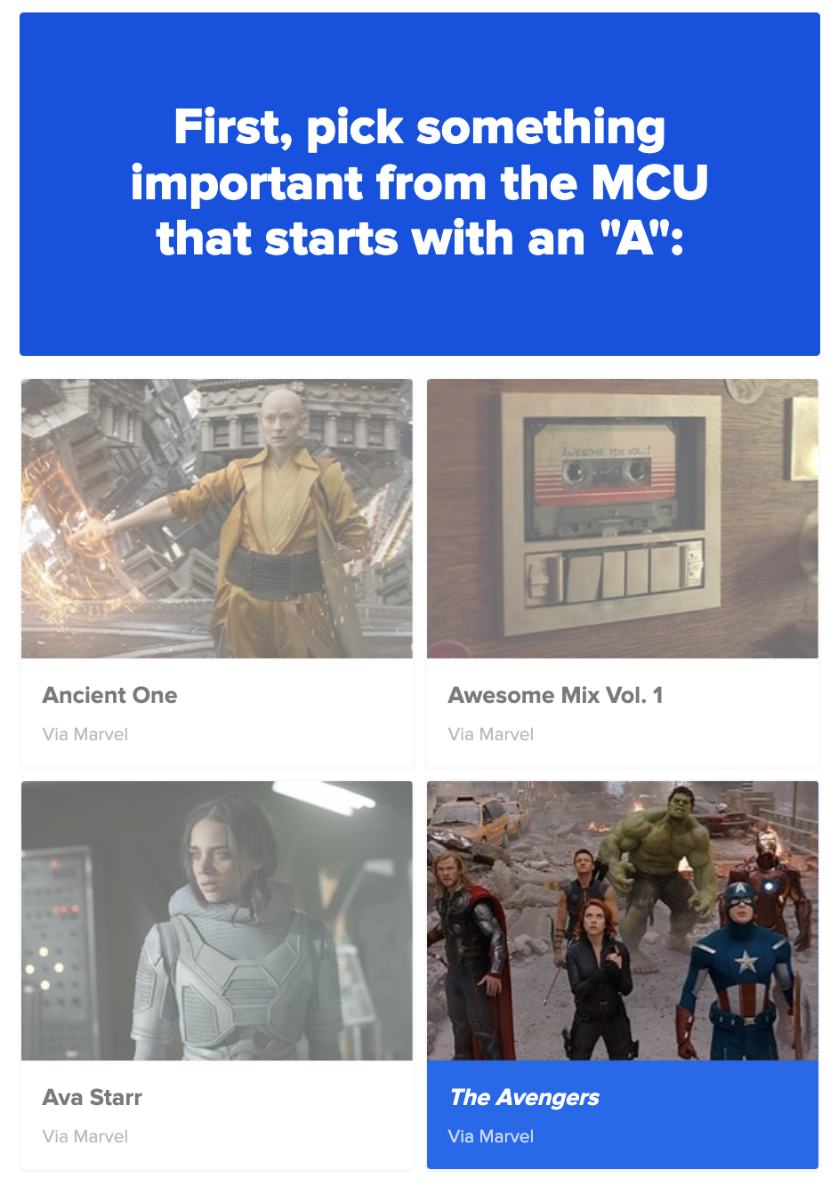 """The sample question """"Pick something in the MCU starting with A"""" with the options of ancient one, awesome mix vol 1, ava starr, and the avengers"""