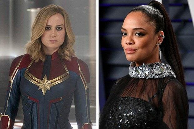 Captain Marvel and Tessa Thompson