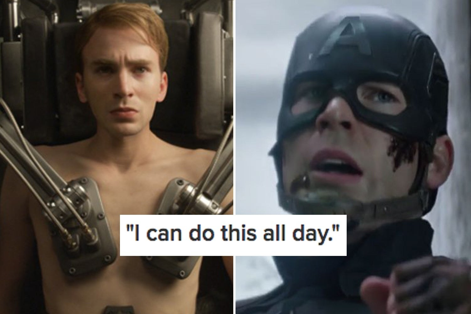 """Pre-serum Steve Rogers and Captain America with the text """"I can do this all day"""""""