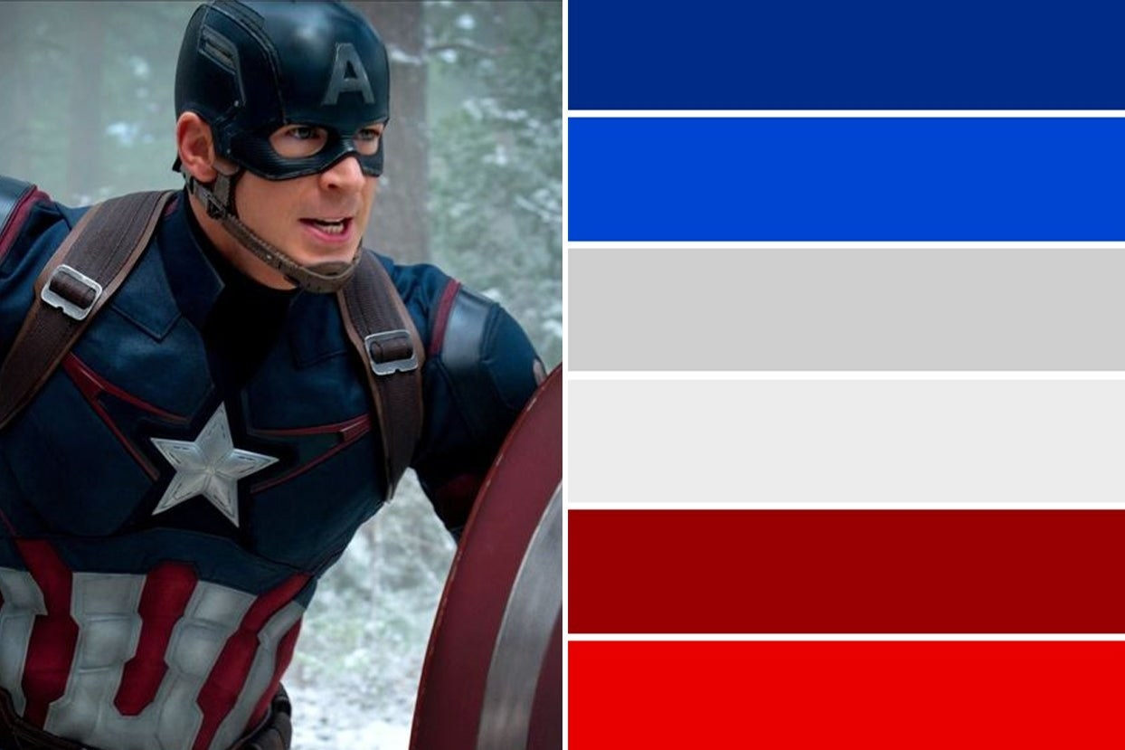 Captain America and a blue, white, and red color palette