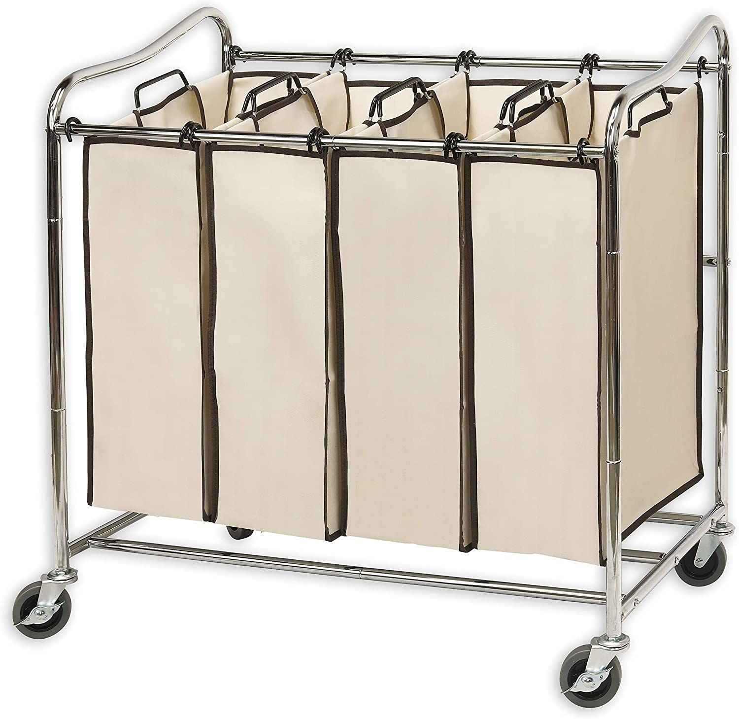 wheeled laundry cart with four section