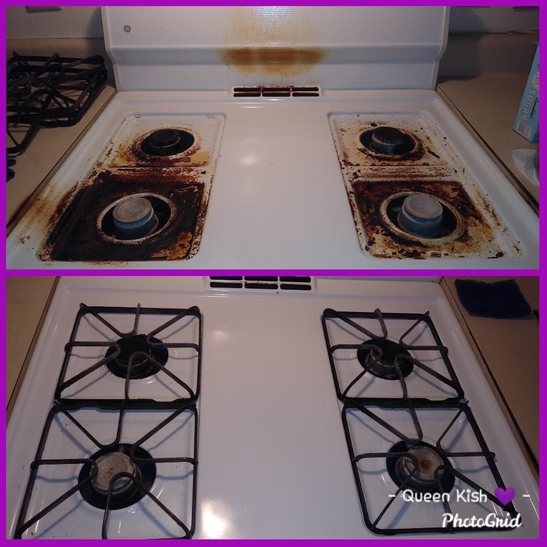 Before photo of a reviewer's white stovetop with burners covered in brown and black burned food and after photo of the same stovetop looking bright and clean