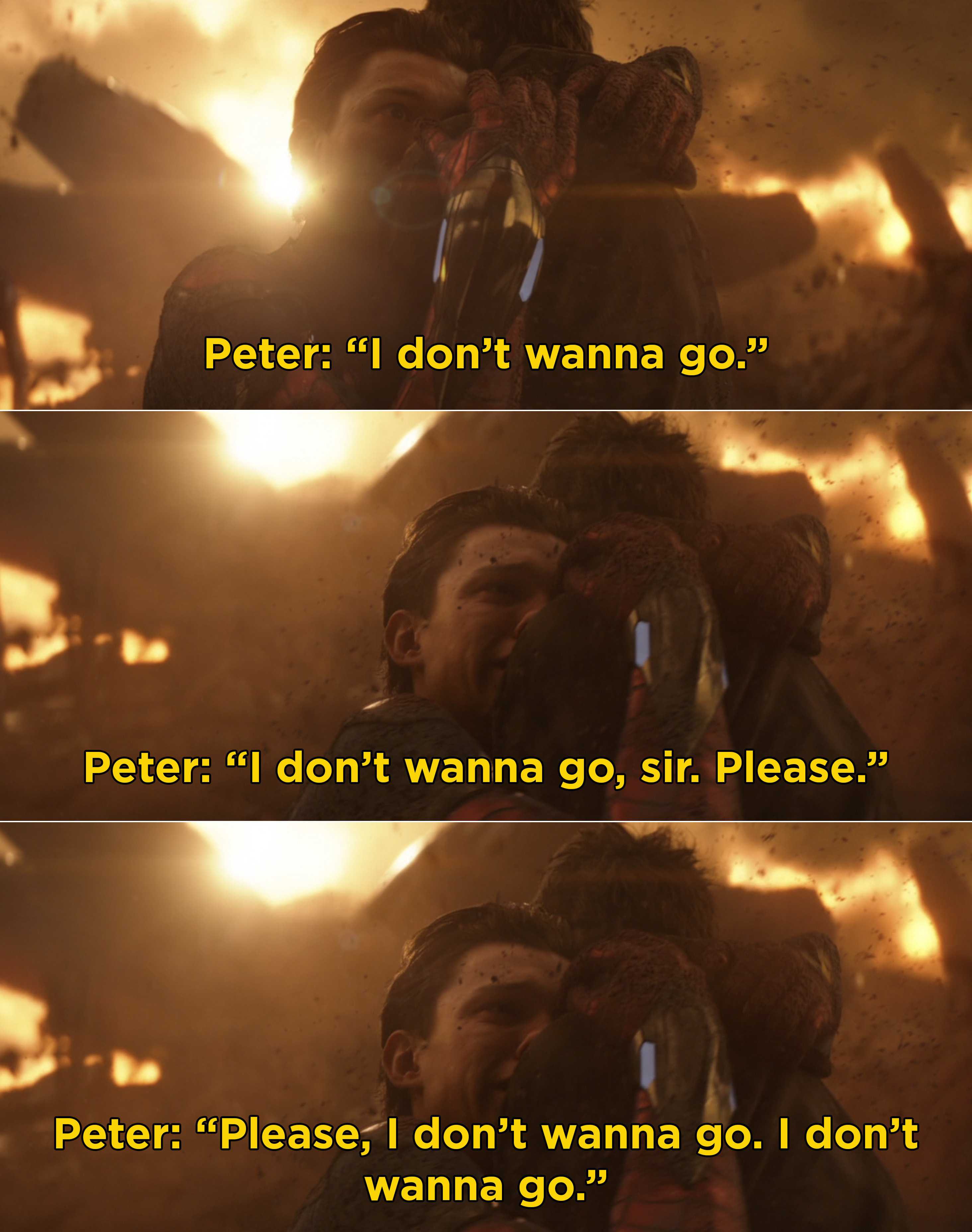 """Peter clinging to Tony and saying, """"I don't wanna go. I don't wanna go, sir. Please. Please, I don't wanna go. I don't wanna go"""""""