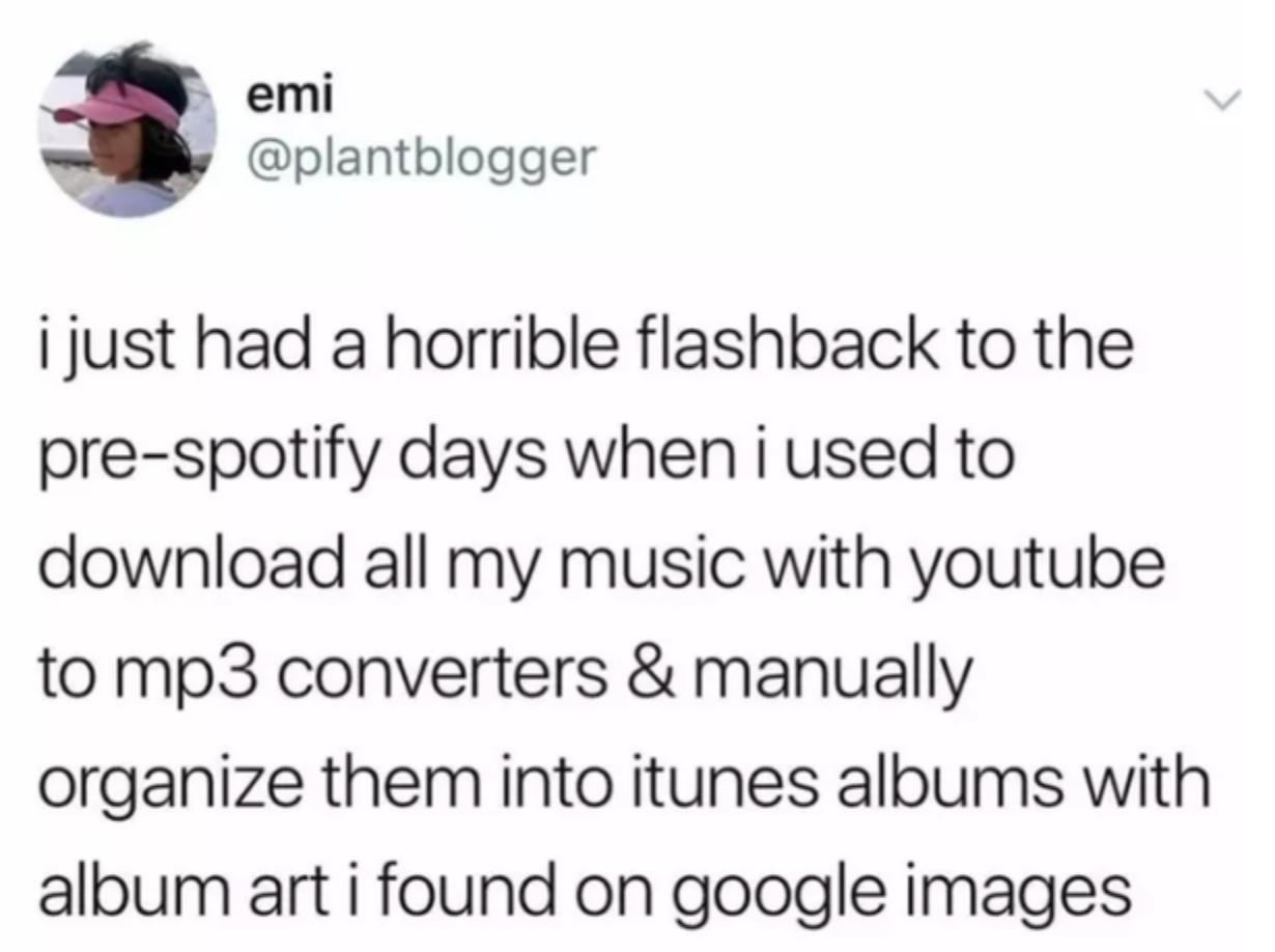 tweet about manually organizing all album art