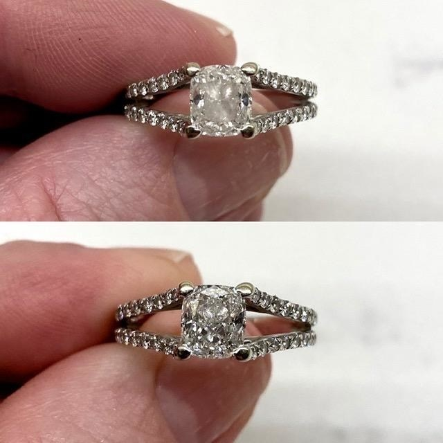 Above, a reviewer holding a cloudy ring. Below, the ring with the jewel sparkly and clear