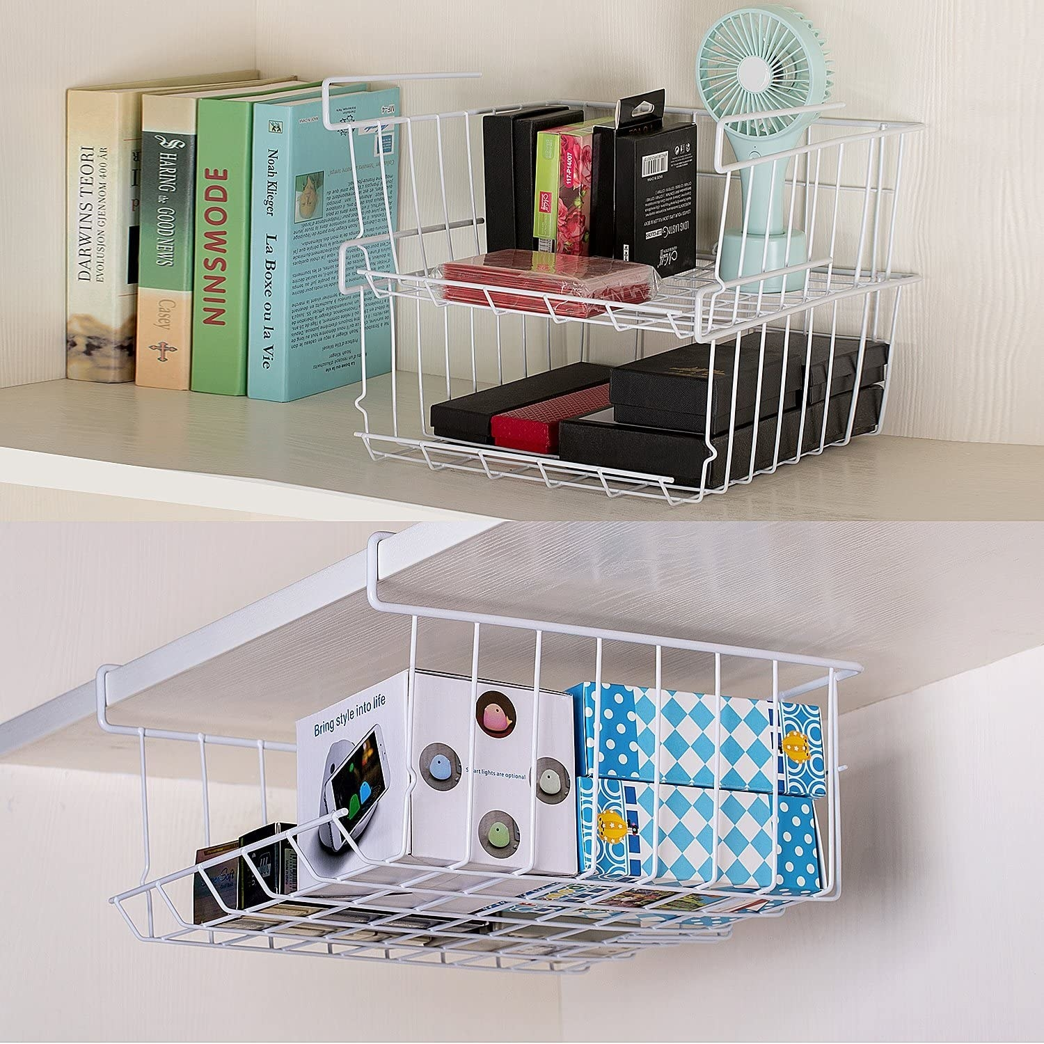 the basket underneath a shelf and stacked on top of each other