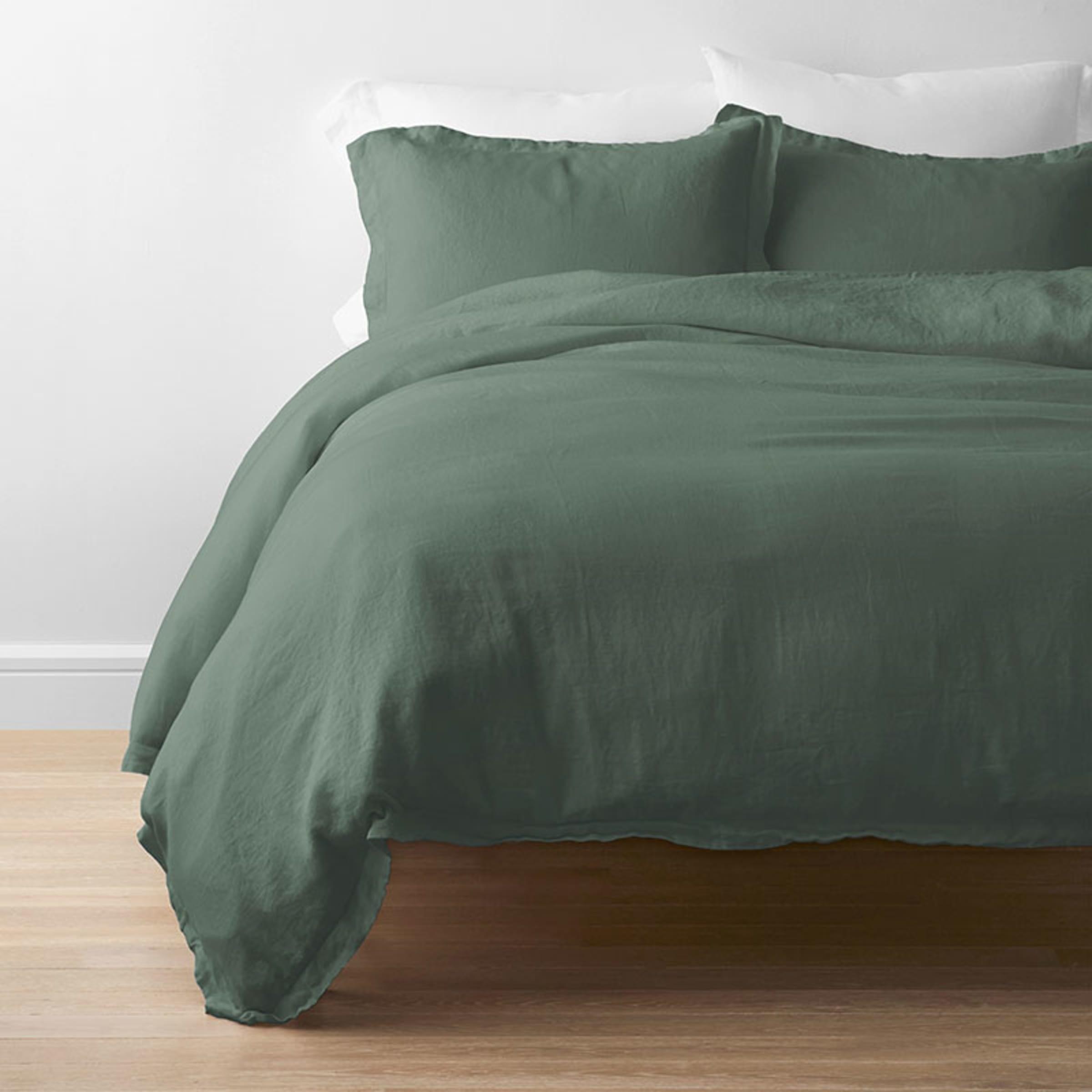 a forest green bedding set