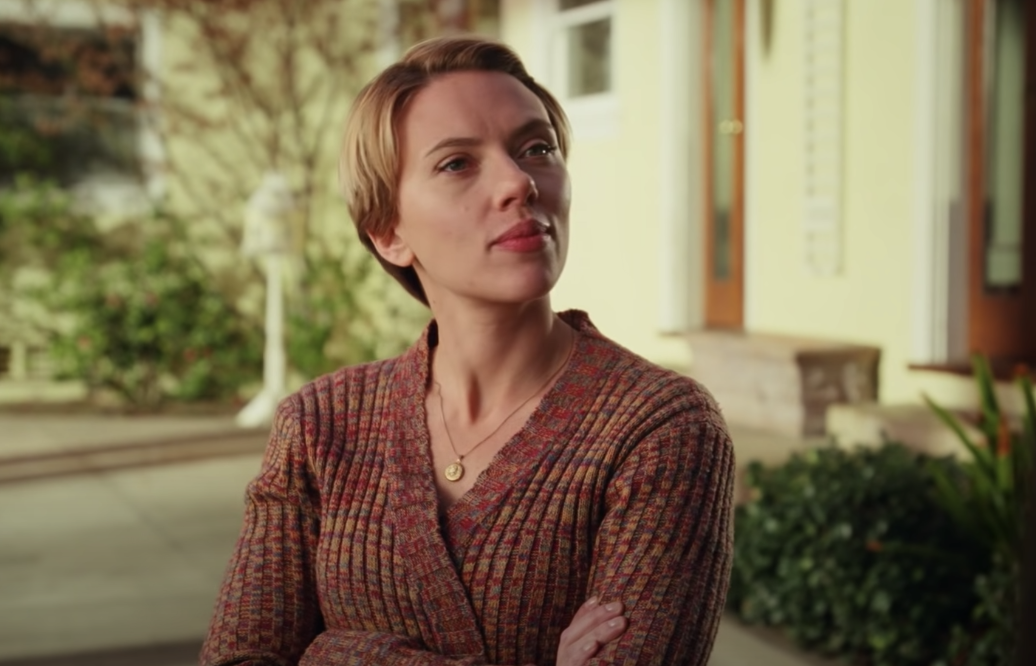 """Scarlett Johansson crosses her arms across her chest and furrows her brows as Nicole in """"Marriage Story"""""""