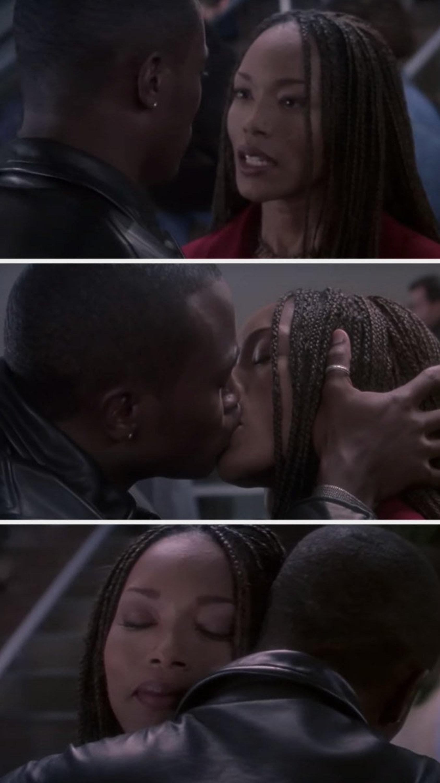 Stella and Winston kiss and hug