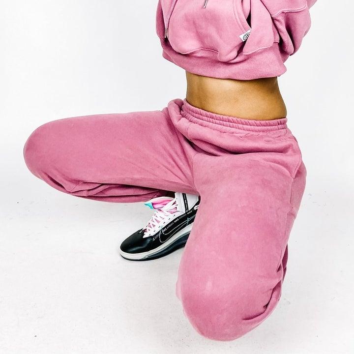 Model wearing sweatsuit
