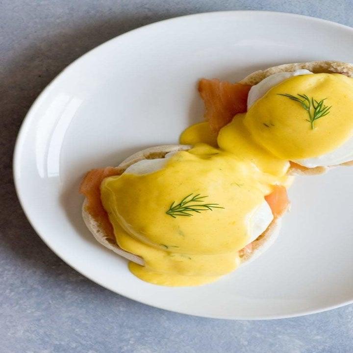 Eggs Benedict with smoked salmon.