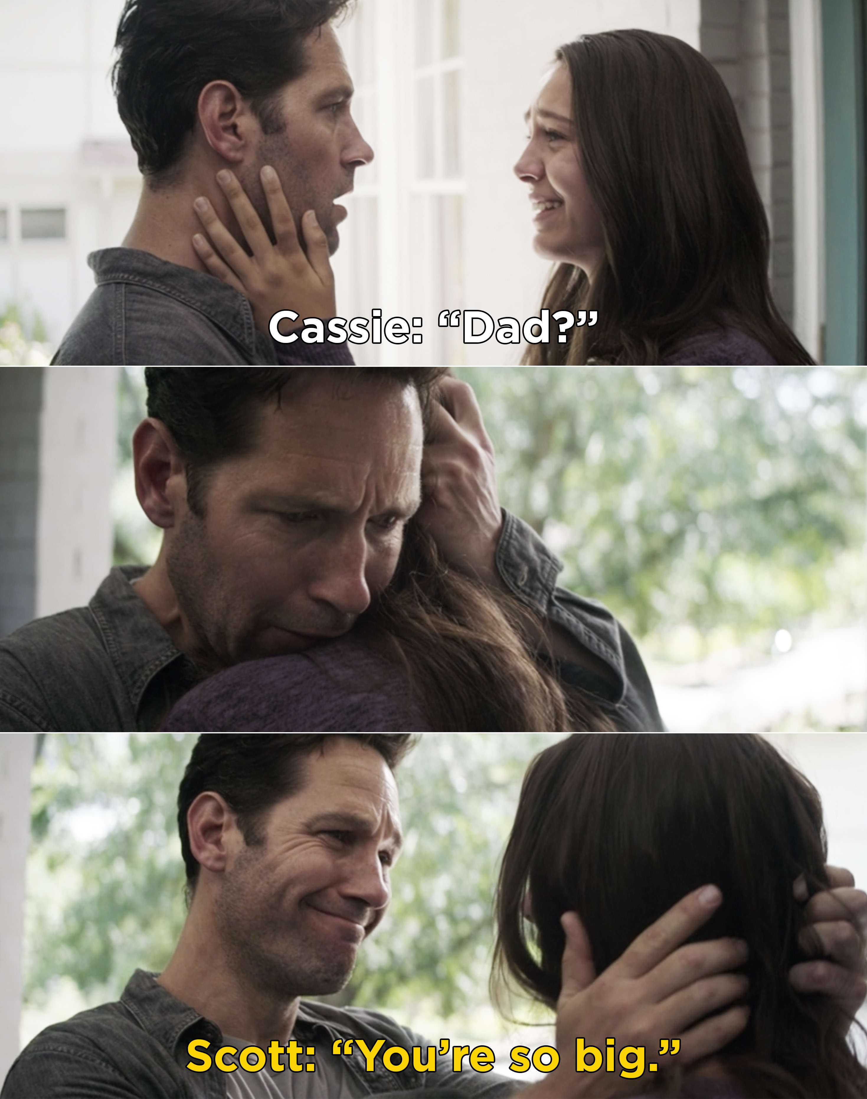 """Cassie saying, """"Dad?"""" Then, Scott hugging Cassie and saying, """"You're so big"""""""