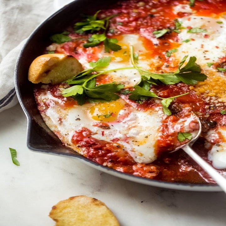 Baked eggs in tomato sauce.