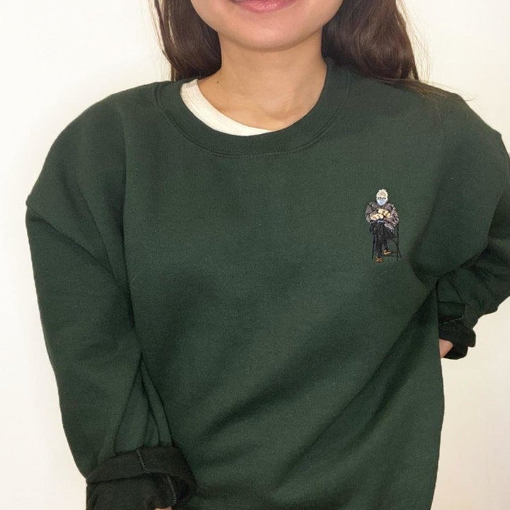 model wearing embroidered crewneck