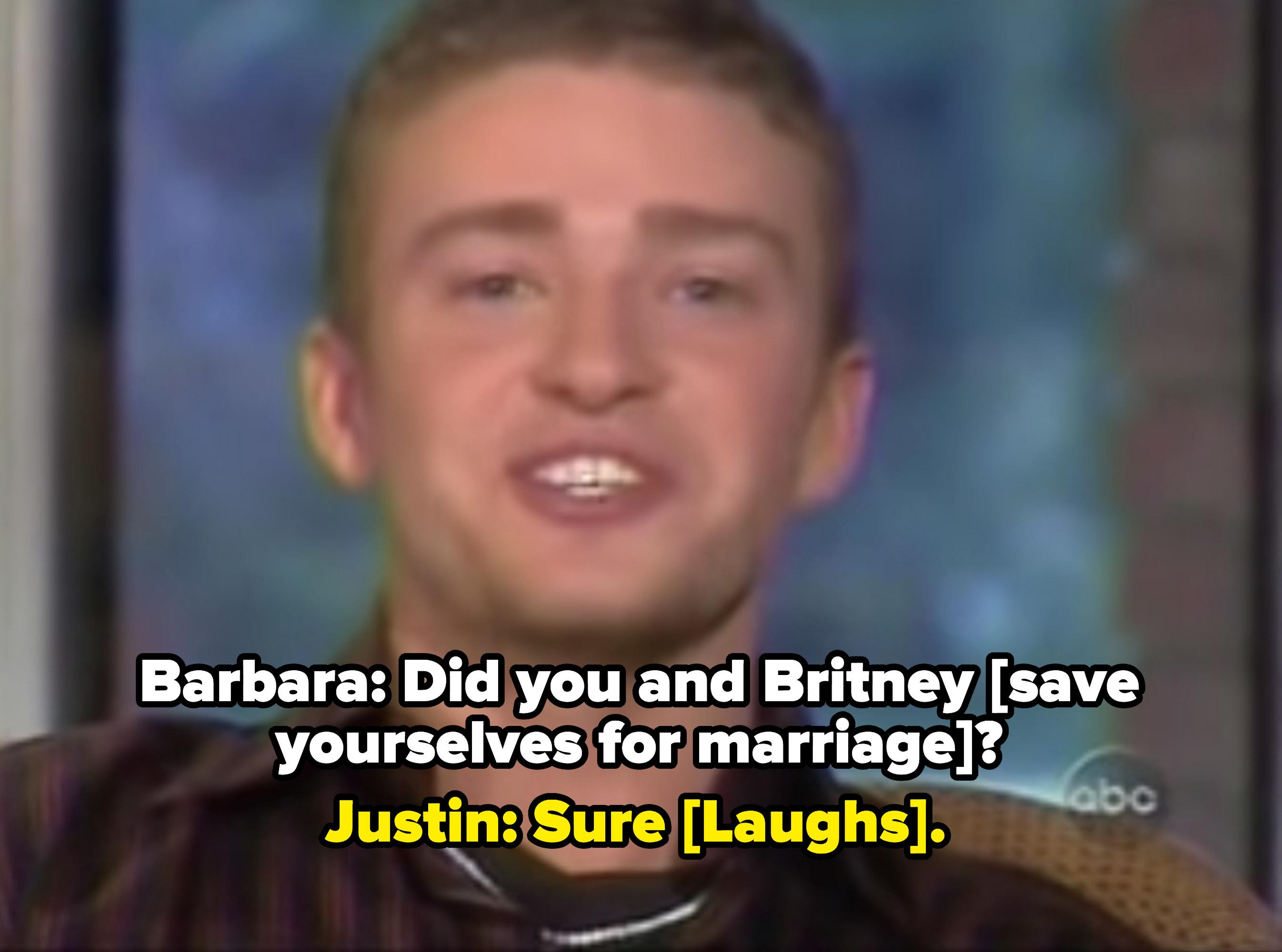 Justin Timberlake interviewing with Barbara Walters