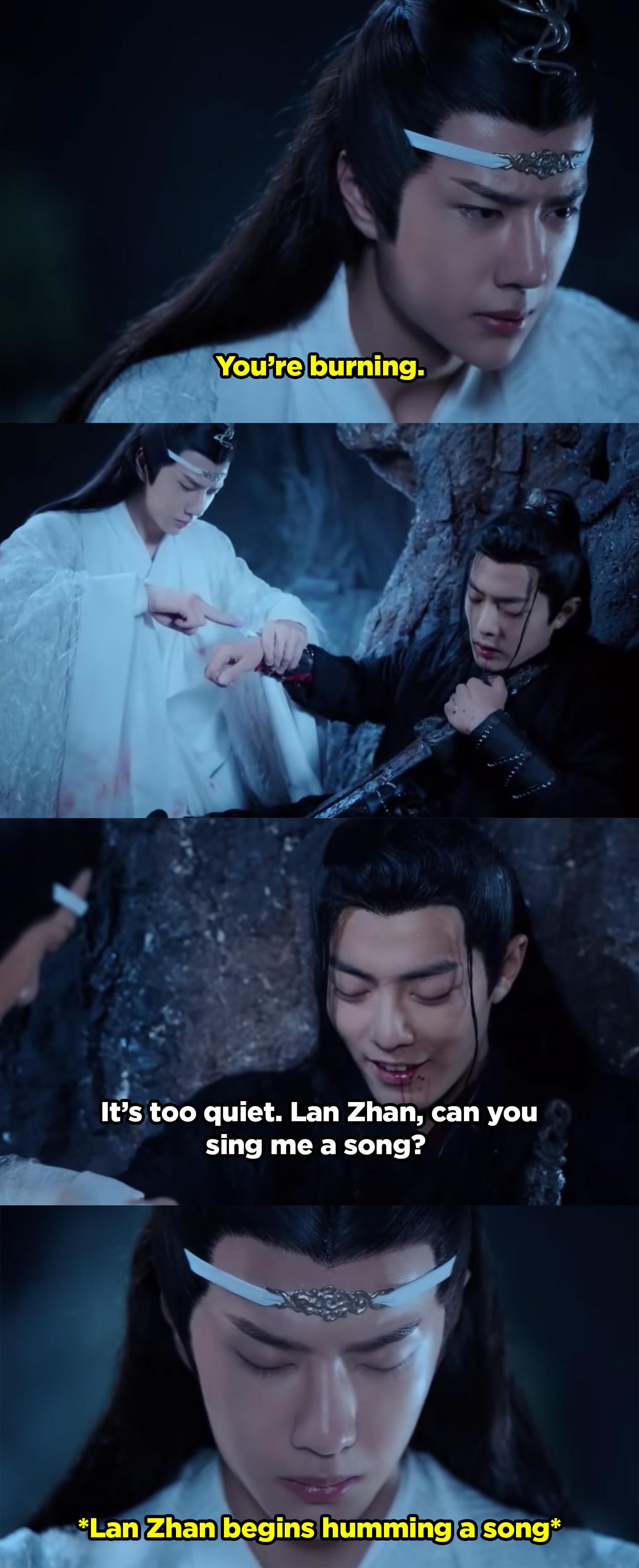 Wei Ying asks Lan to sing him a song as he heals.