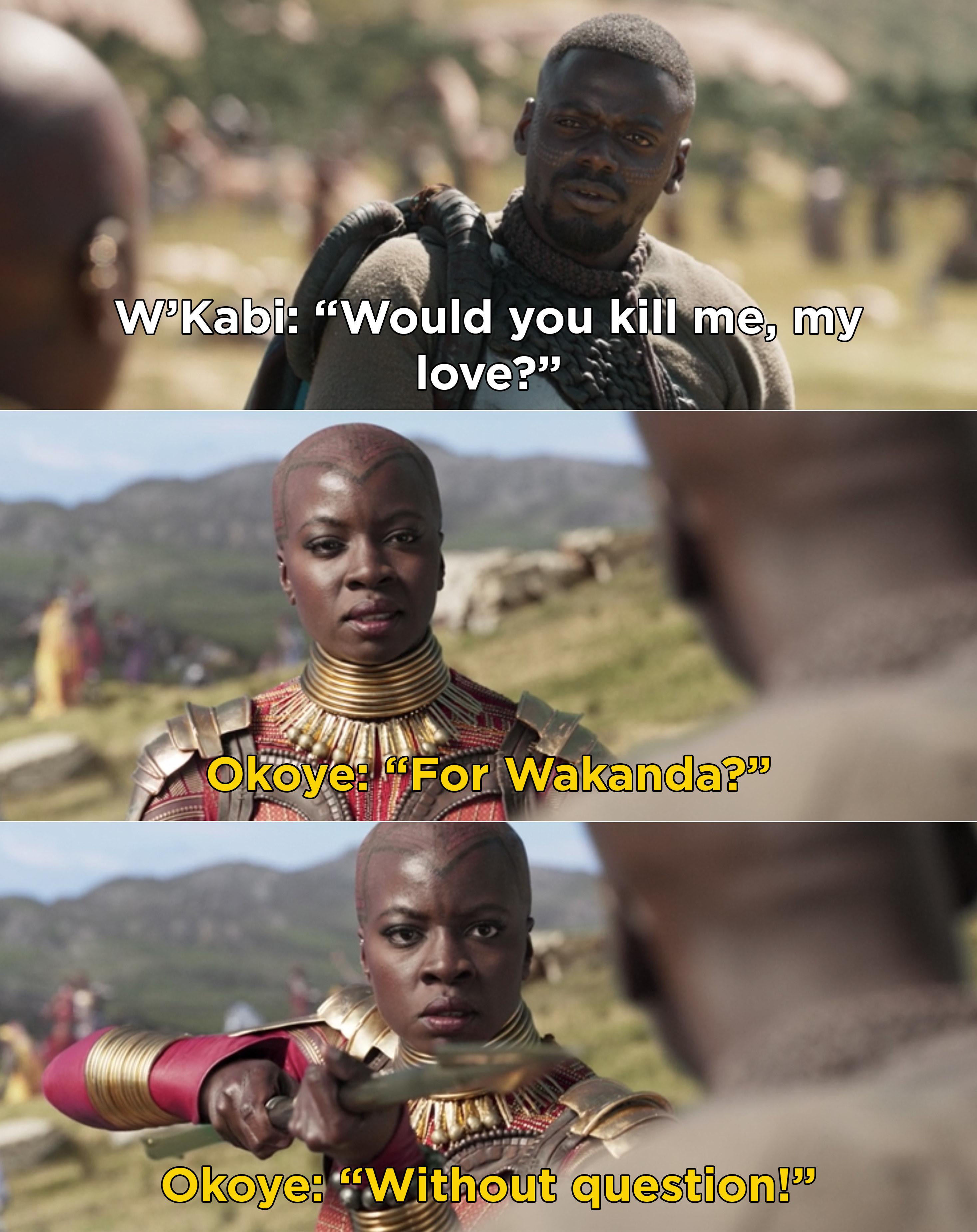 "W'Kabi asking Okoye, ""Would you kill me, my love?"" and Okoye saying, ""For Wakanda? Without question"""