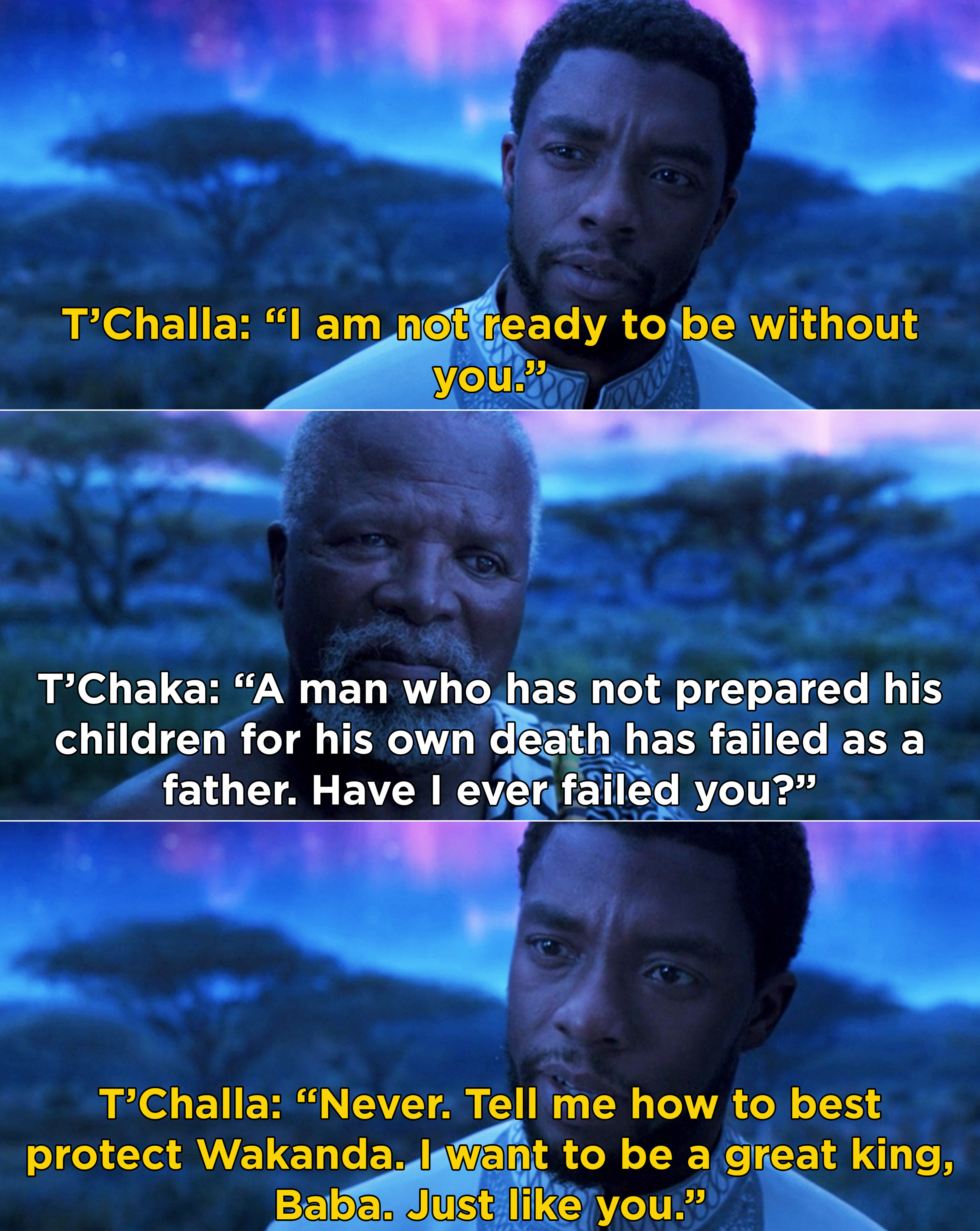 T'Challa telling T'Chaka that he's not ready to be without him and that he wants to be a great king, and T'Chaka saying he has failed if his children were not prepared for his death